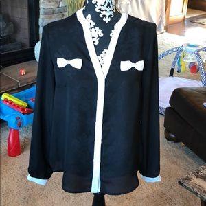 Black & White Button Up Blouse